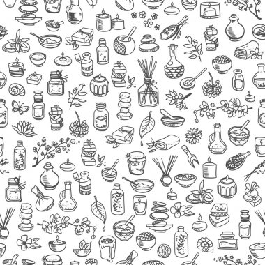 doodle spa elements, seamless background