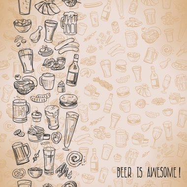 Sketchy beer and snacks, vector hand-drawn background stock vector