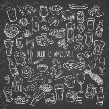 Sketchy beer and snacks, vector hand-drawn illustration stock vector