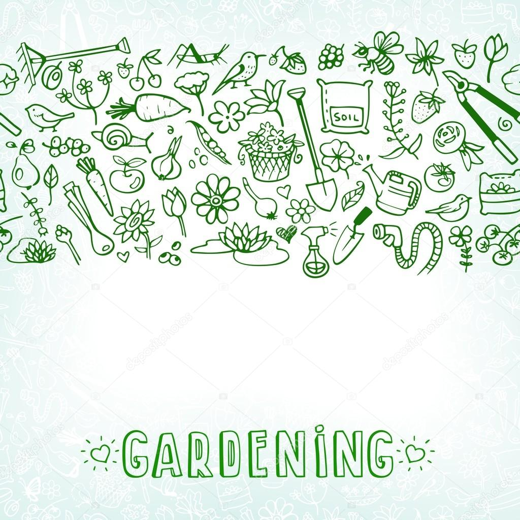 hand drawn garden icons background