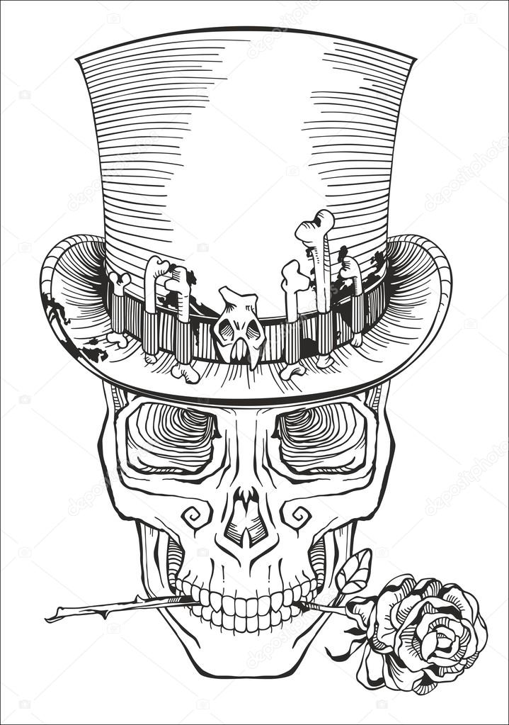 human skull in a top hat