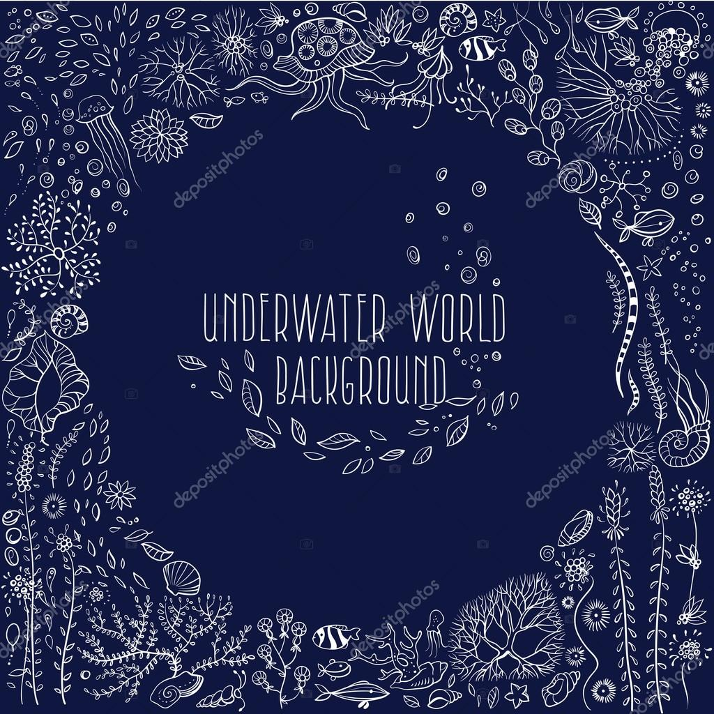 hand drawn underwater world background