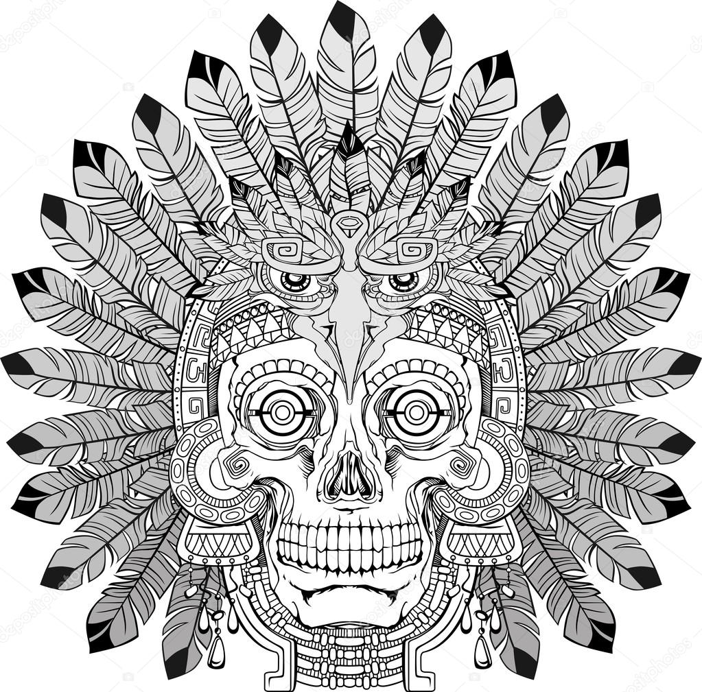 Indian skull with jewelry