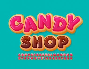 Vector sweet logo Candy Shop. Pink Glazed Font. Funny Donut Alphabet Letters and Numbers set icon