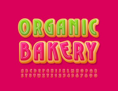 Vector delicious logo Organic Bakery. Tasty Glazed Font. Sweet Alphabet Letters and Numbers set icon