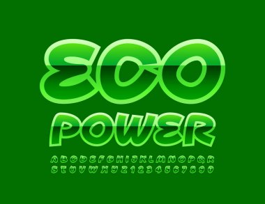 Vector green emblem Eco Power. Glossy Handwritten Font. Creative Alphabet Letters and Numbers set icon