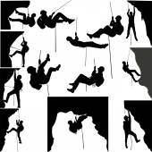 Photo rock climbers silhouette collection