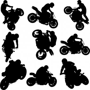 Motorbike riders and motorcycles