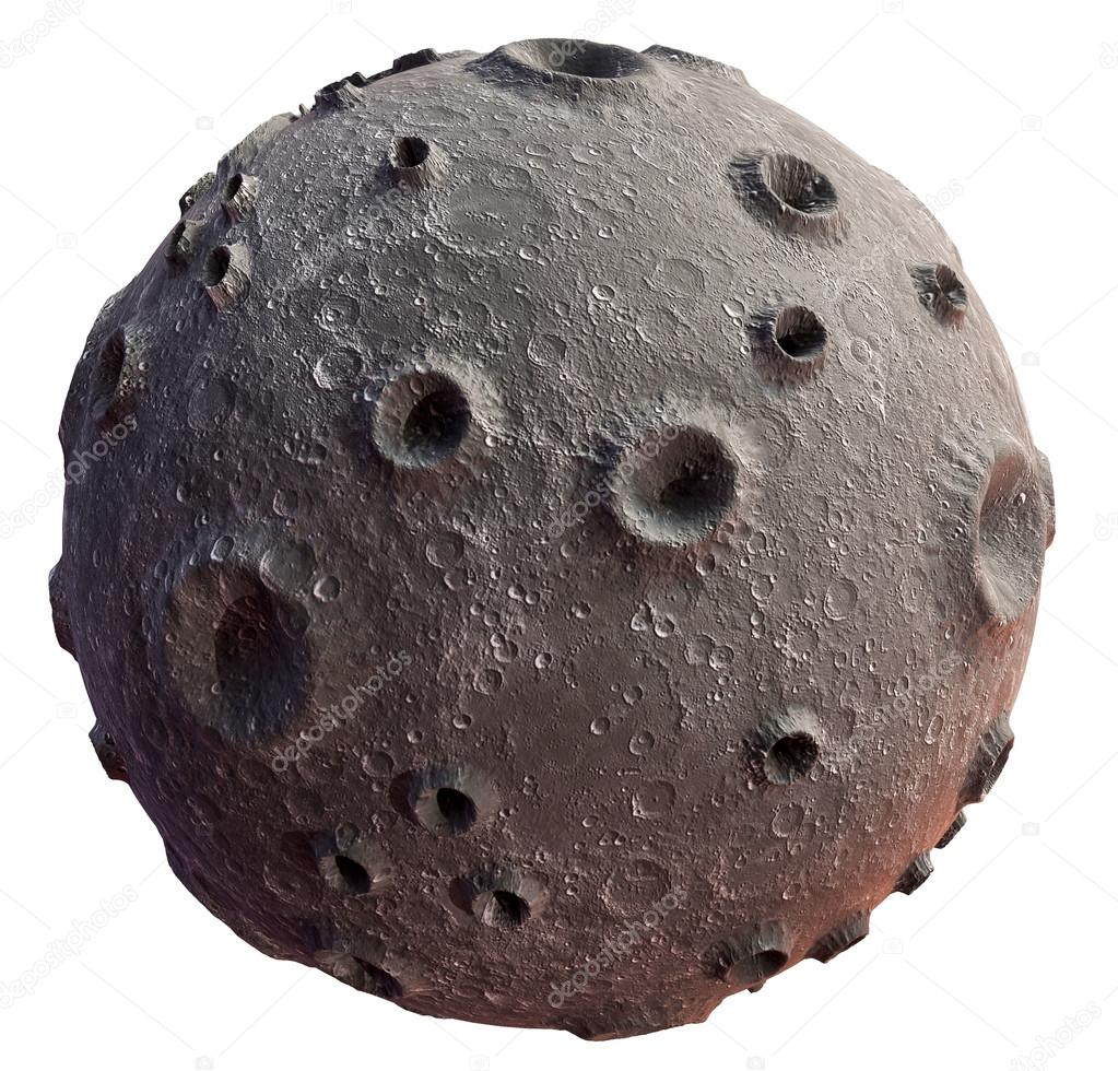 Moon on a white background. Lunar craters and bumps. 3D image of the full moon. Isolated