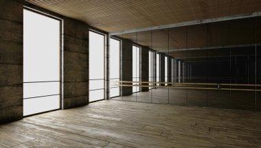 3d rendering. blank interior. concrete walls