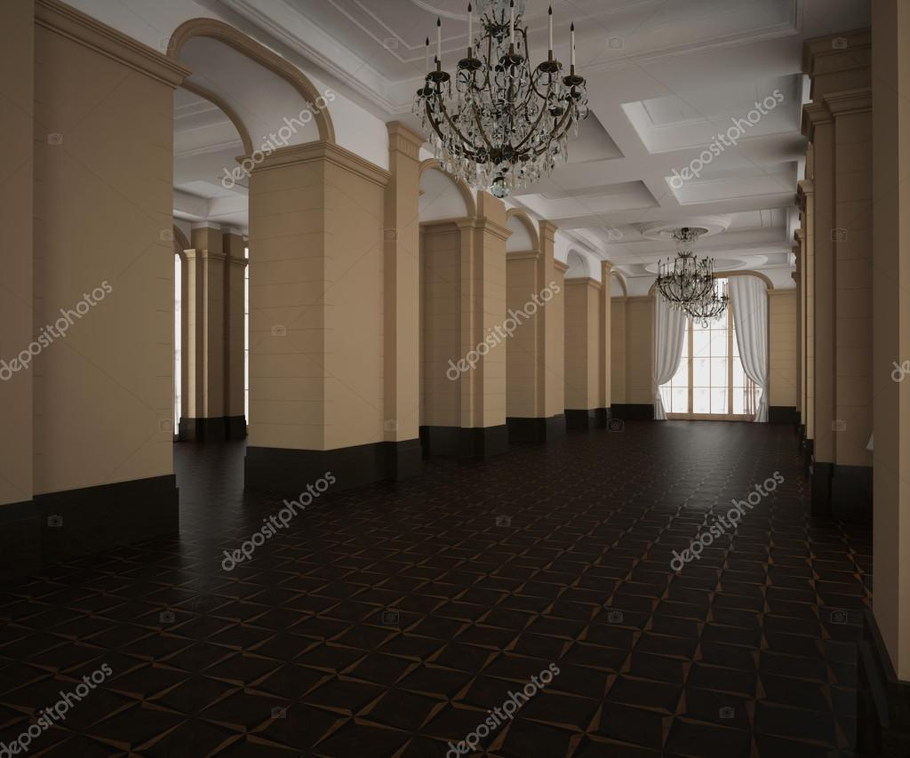 Pavimento Scuro O Chiaro : Rendering d padiglione classico vuoto interiore pavimento in