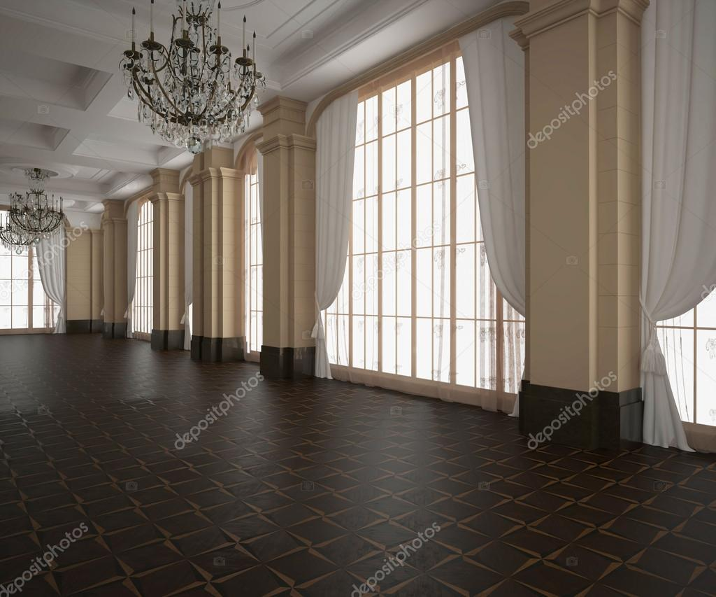 Pavimento Scuro Colore Pareti : Rendering d padiglione classico vuoto interiore pavimento in