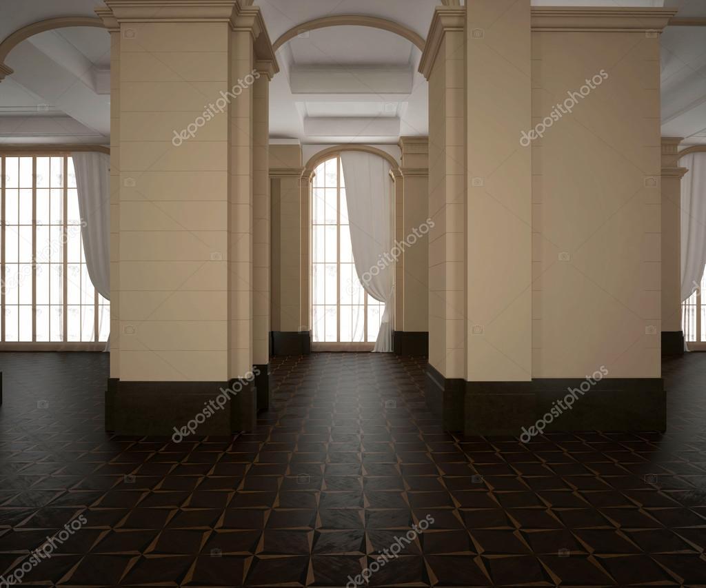 Pavimento Scuro Colore Pareti : Rendering 3d. padiglione classico vuoto interiore. pavimento in