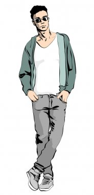 Illustration of a fashionable man with a glasses. Stay