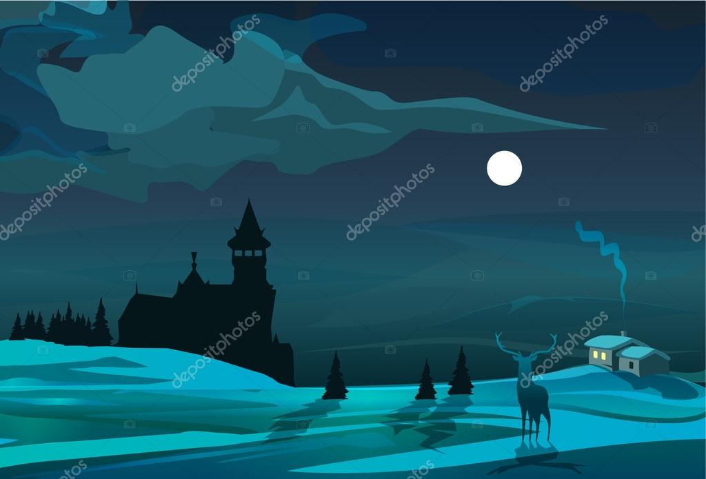 Moonlight scene with trees, house, deer, and castle