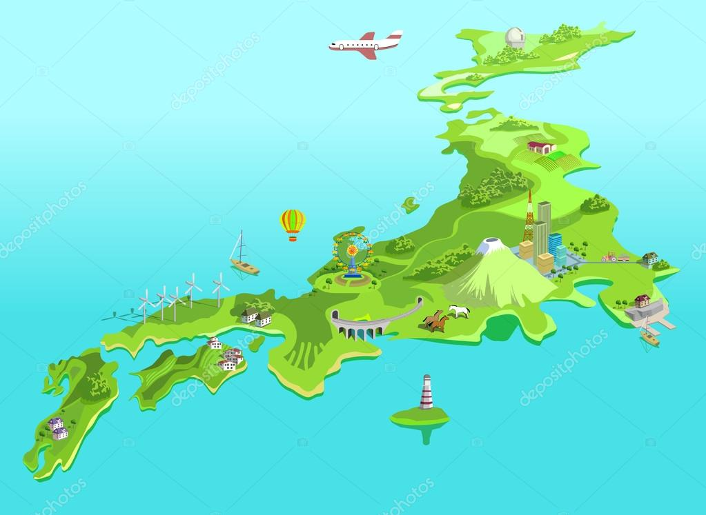 Semi-abstract Japan map. Eco islands. Fudzijama