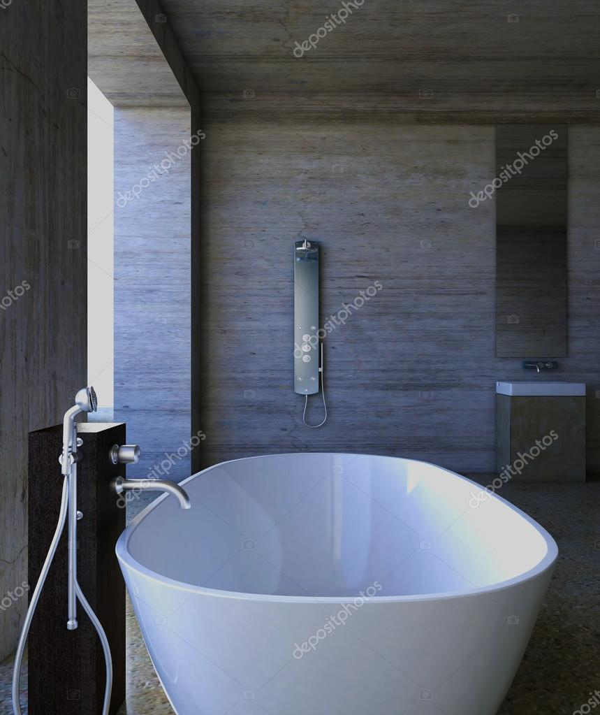 Concrete tub in the bathroom — Stock Photo © idcde #85969870