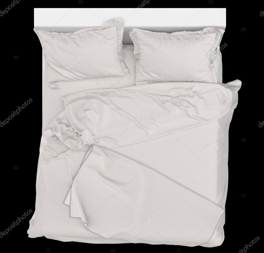 bett auf schwarzem hintergrund bettw sche ansicht von oben stockfoto idcde 86347734. Black Bedroom Furniture Sets. Home Design Ideas