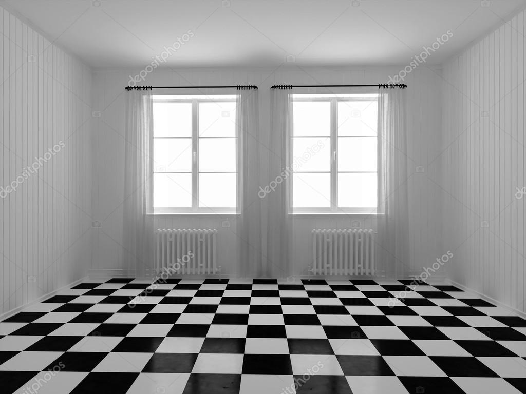 3d rendering a room with white walls panels checkerboard tile on a room with white walls panels checkerboard tile on the floor photo by idcde dailygadgetfo Images