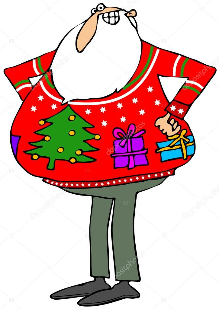 Ugly Christmas Sweater Cartoon.Pictures Ugly Christmas Tree Santa A Ugly Christmas