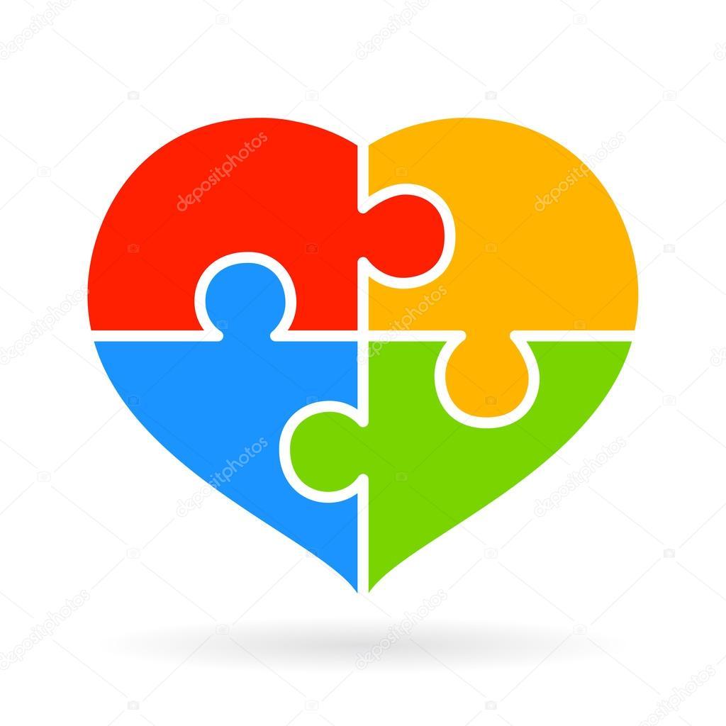 diagrama de corazón rompecabezas parte 4 — Archivo Imágenes ...