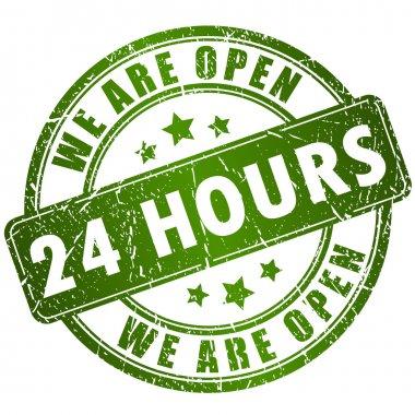 Open 24 hours vector stamp