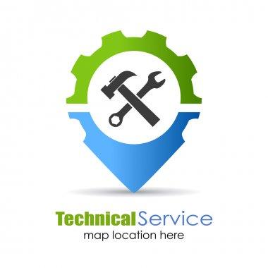 Technical service location pin icon stock vector