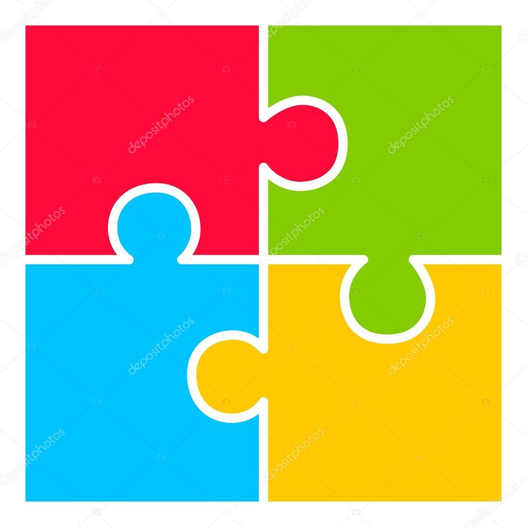 Vier teil puzzle diagramm: vectores, gráficos, imágenes vectoriales |  Depositphotos®
