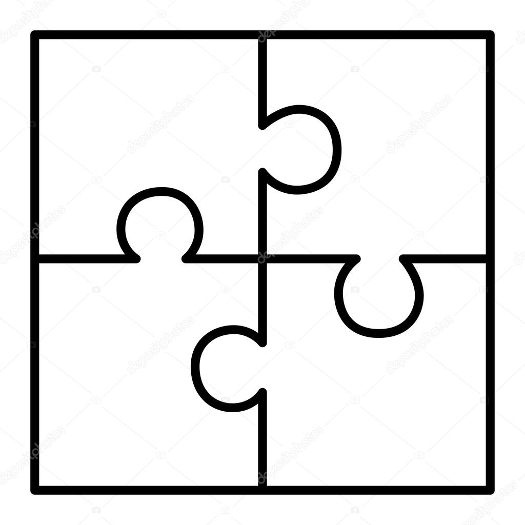 diagrama del puzzle de cuatro piezas  u2014 vector de stock