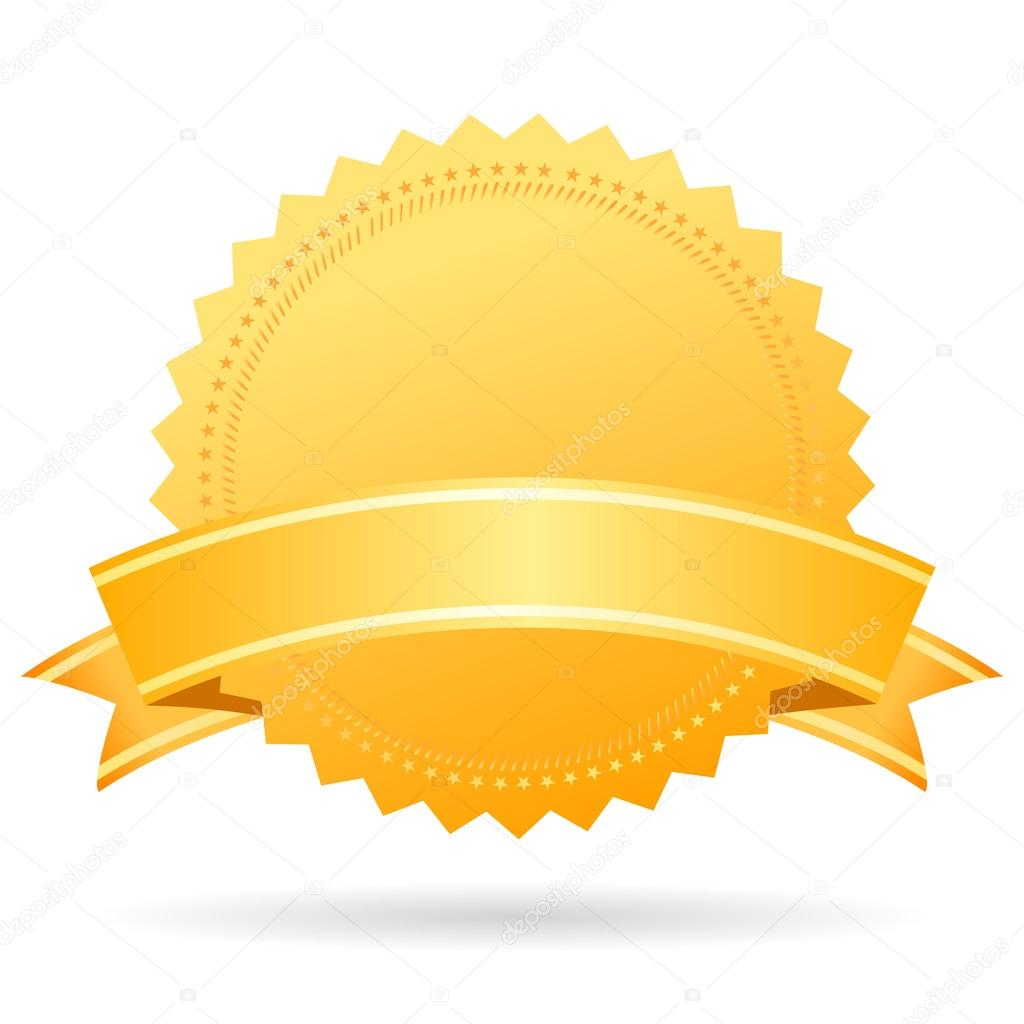Blank Gold Medal With Ribbon Stock Vector C Arcady 97003172