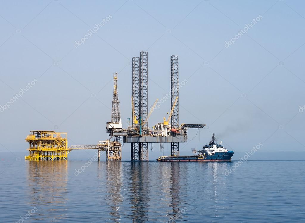 Drilling rig and supply boat