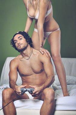 Video games addicted man