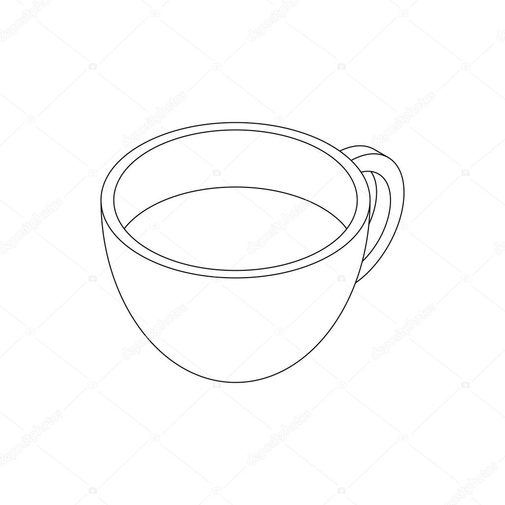 Coffee cup sketch - Coffee Cup Icon In Isometric 3d Style Isolated On White Background Vector By Ylivdesign