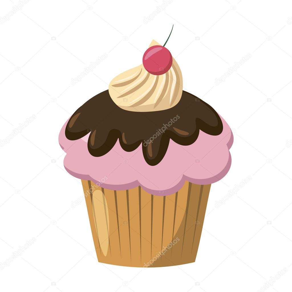 Imágenes Cupcake Animados Icono De Cereza De La Magdalena Estilo