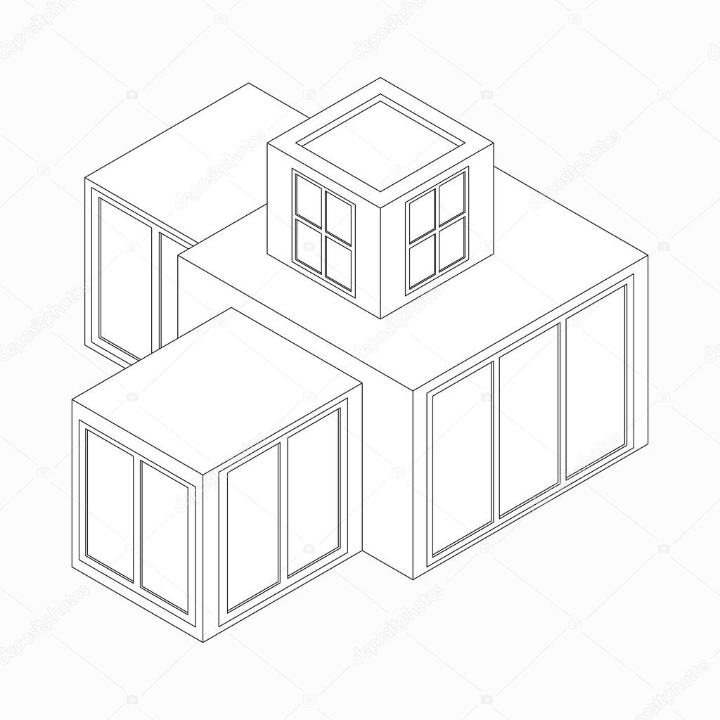 Modernes Haus-Symbol, isometrische 3d Stil — Stockvektor ...