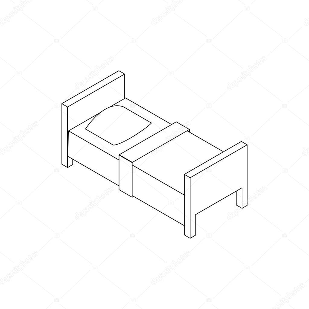 Icona di letto singolo stile 3d isometrico vettoriali for Letto 3d dwg