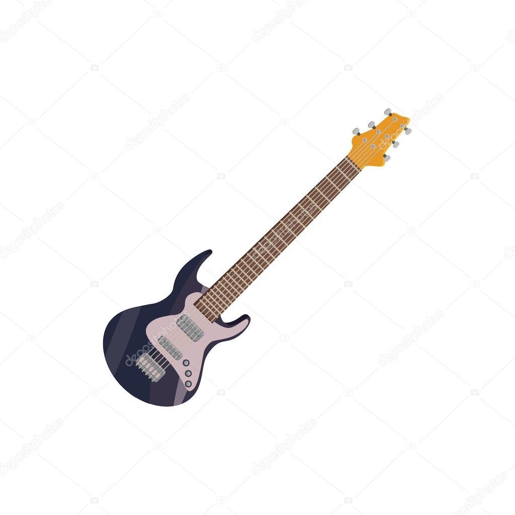 Icono De La Guitarra Eléctrica Negra Estilo De Dibujos Animados