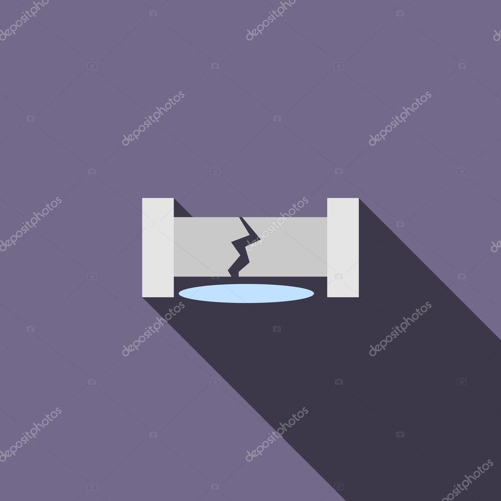 Water pipe broken icon, flat style