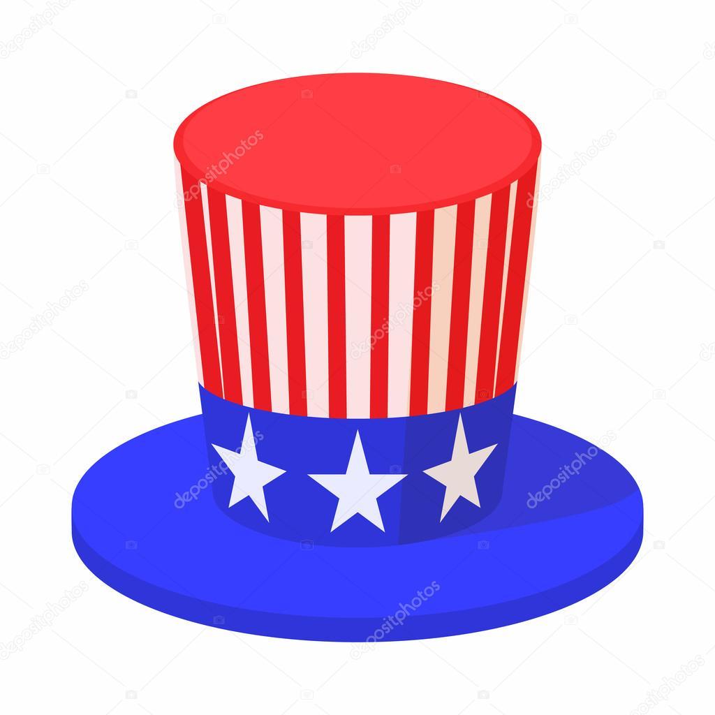 Sombrero En El Icono De Colores De Bandera De Estados Unidos Estilo