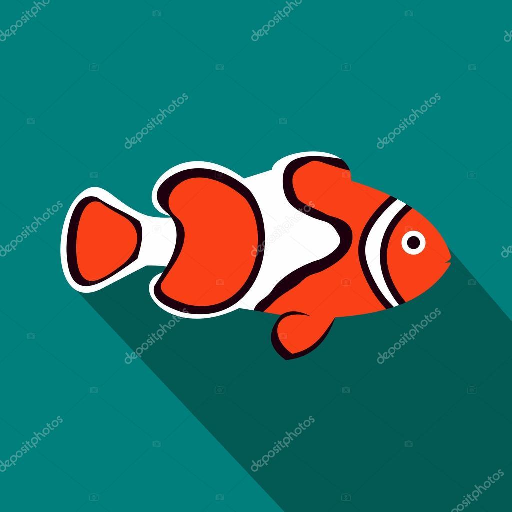 Clown fish icon, flat style — Stock Vector © ylivdesign #111844310