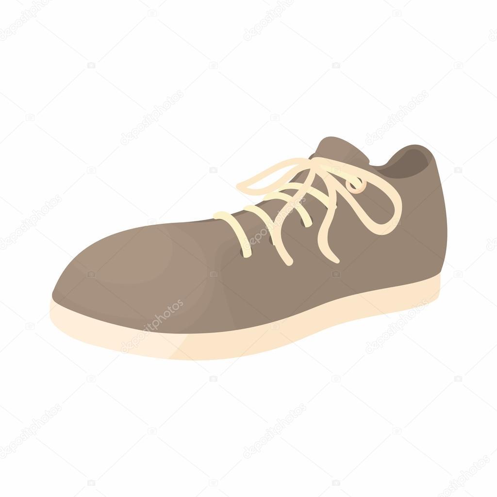 cc247b2f02 Hombre zapato gris con el icono blanco único en estilo de dibujos animados  sobre un fondo blanco — Vector de ...