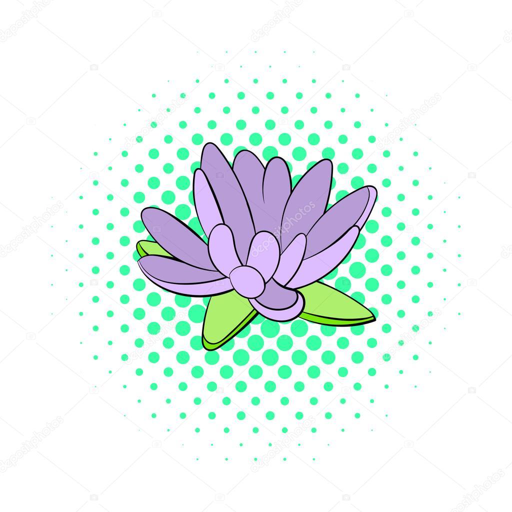 Lotus flower icon, comics style