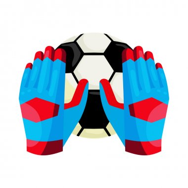 Goalkeeper gloves and a ball icon, cartoon style