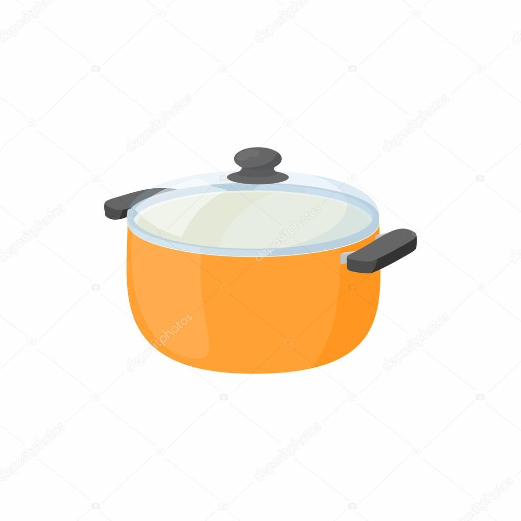Cuisson casserole avec ic ne couvercle en verre style cartoon image vectorielle ylivdesign - Couvercle casserole en verre ...
