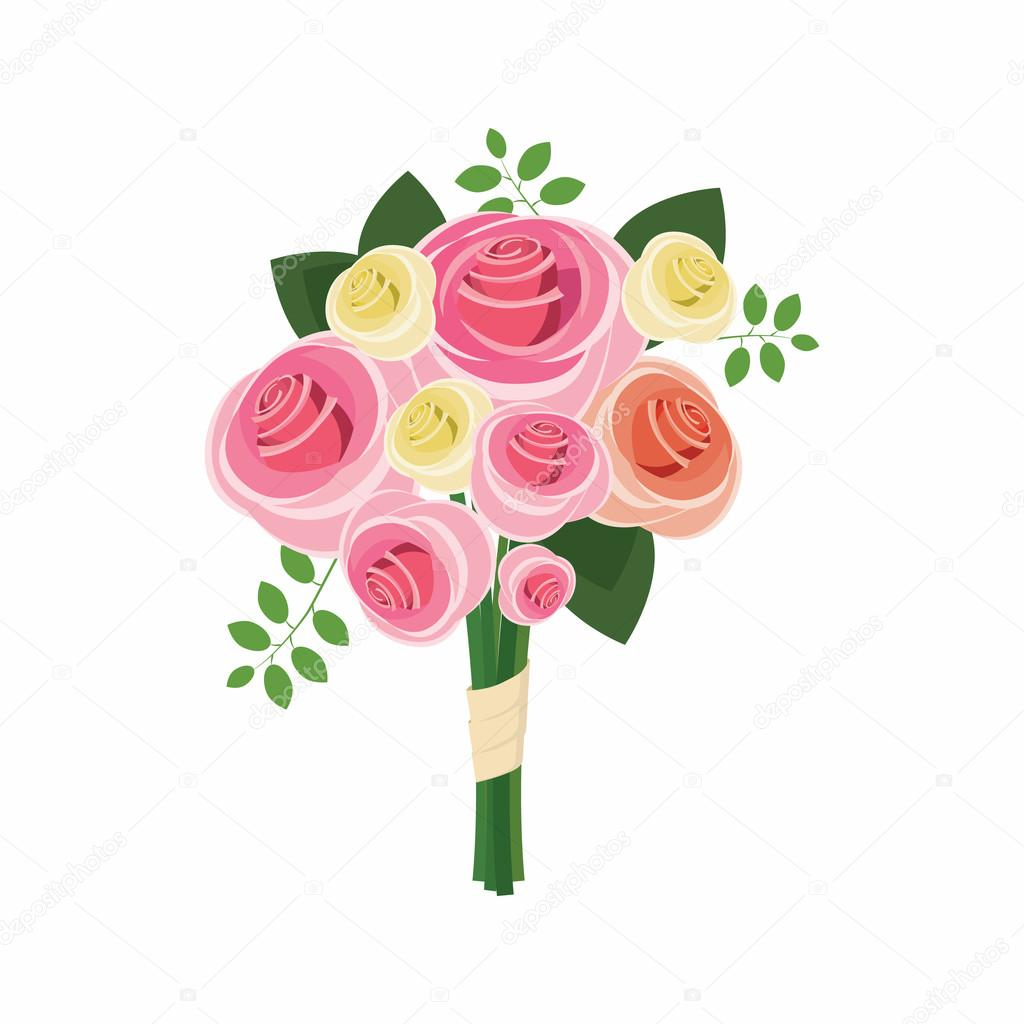 wedding bouquet of pink roses icon  cartoon style stock bouquet of flowers clip art images bouquet of flowers clip art blanks
