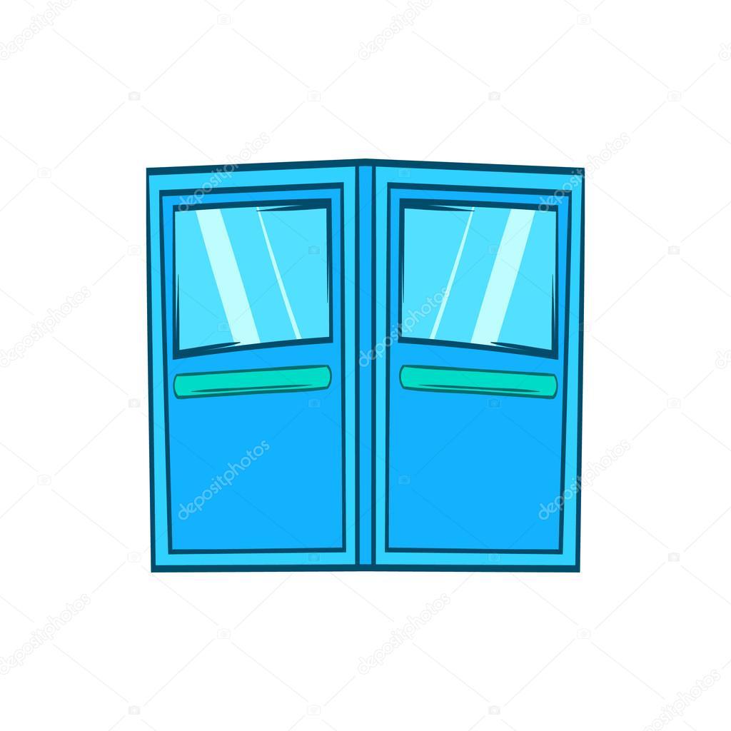Icono de puertas de entrada doble azul estilo de dibujos - Dibujos de puertas ...