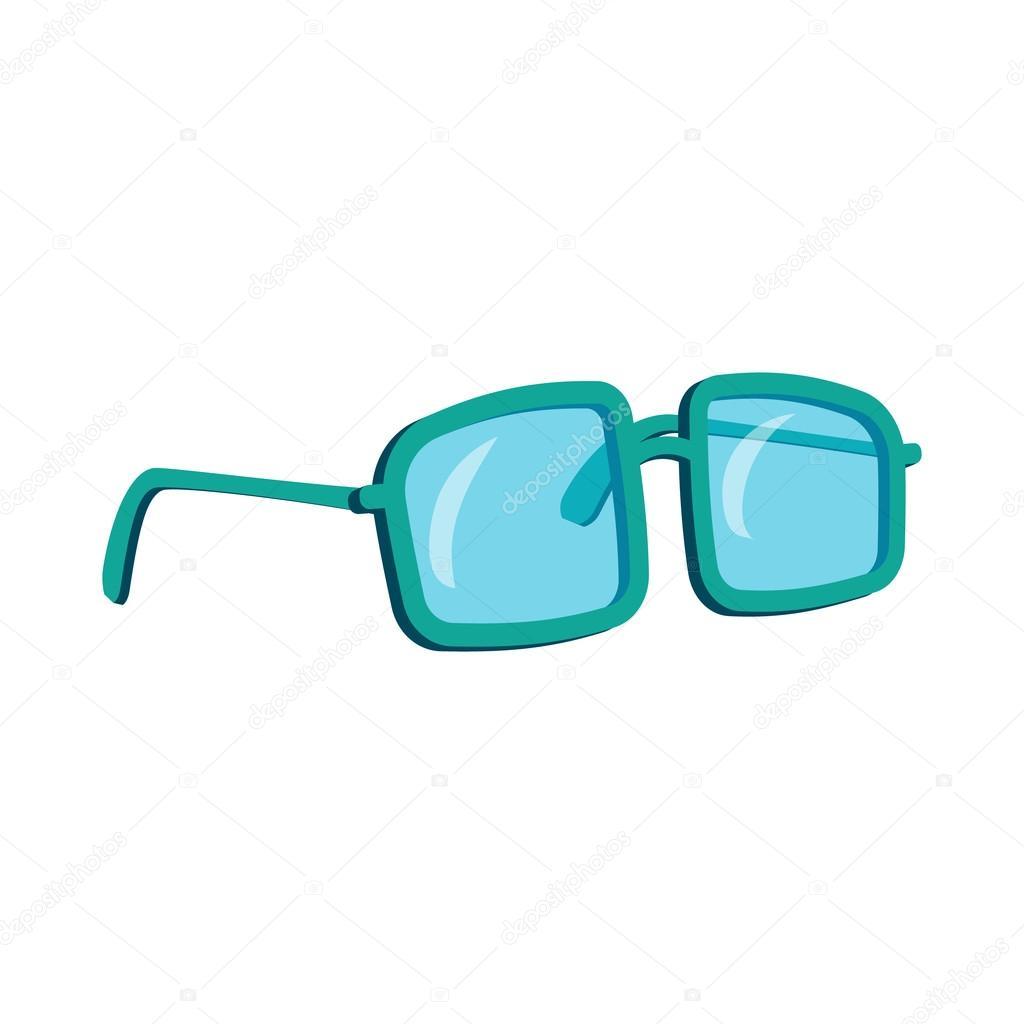 Gläser in einem blauen Kunststoff-Rahmen-Symbol-Cartoon-Stil ...