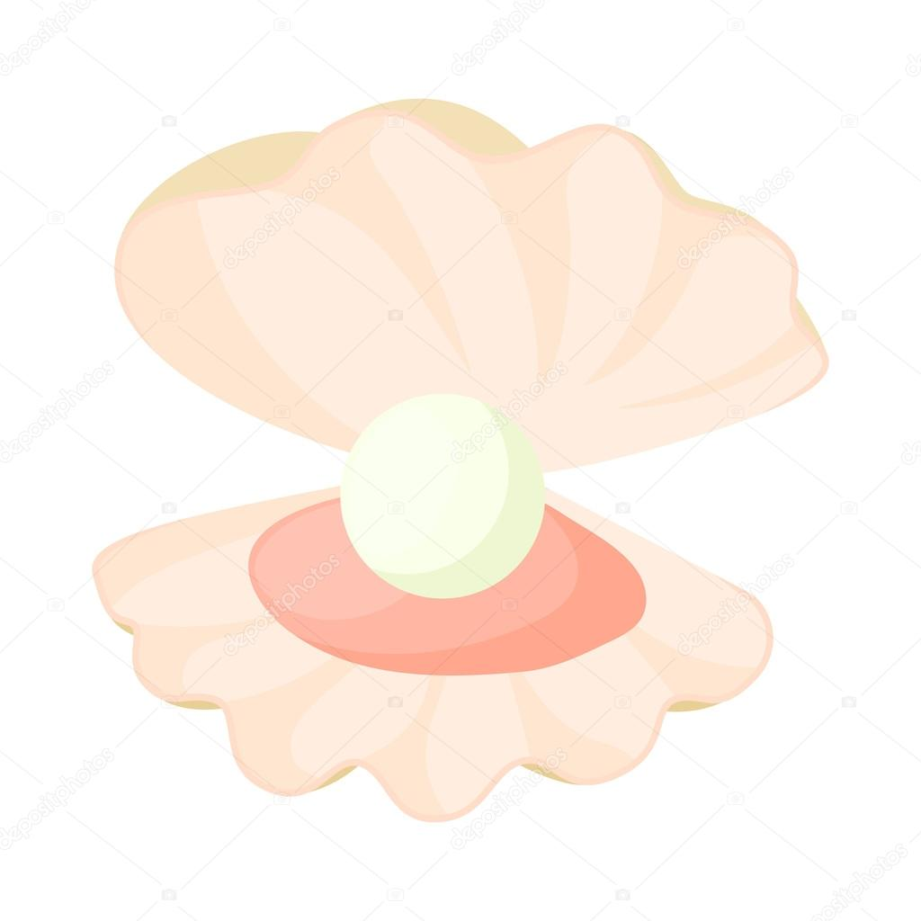 Pearl in a shell icon, cartoon style — Stock Vector ...