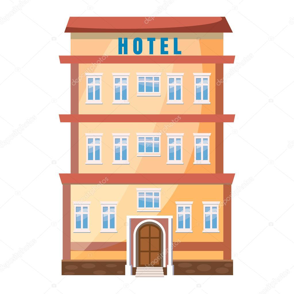 Hotel edificio icono en estilo de dibujos animados ...