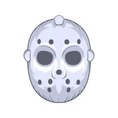Hockey goalie mask icon, cartoon style
